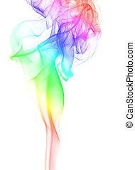 elegante, fumaça, arco íris