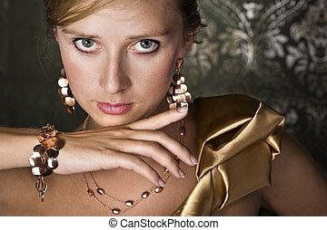 elegante, mulher, jóia, ouro