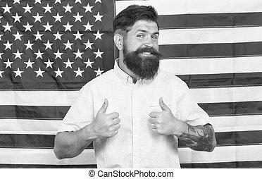 elegante, poço, americano, governo, hipster, fundo, aparência, groomed, homem, conceito, trabalhando, bandeira