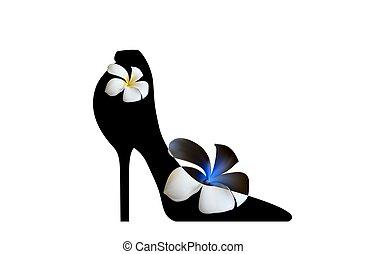 elegante, shoes., fashion., alto, fantasia, pretas, alto-colocar salto* no* sapato*