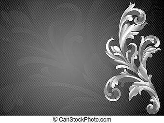 elemento, 3d, decoração, clássicas