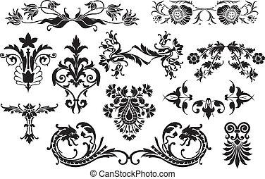 elementos, útil, vindima, -, isolado, embellish, calligraphic, desenho, fundo, floral, esquema, branca, seu