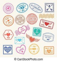 elementos, amor, romanticos, vindima, vetorial, desenho, stamps., scrapbook, letras, postal, ou