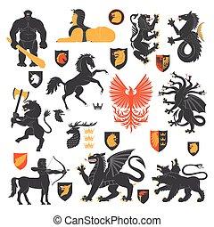 elementos, animais 2, heraldic