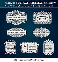 elementos, antigas, vindima, etiquetas, calligraphic, bordas
