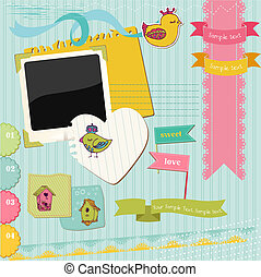 elementos, coloridos, -, pássaros, casas, vetorial, desenho, scrapbook, pássaro