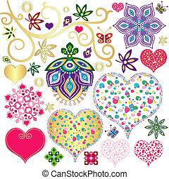 elementos, corações, jogo, coloridos, desenho