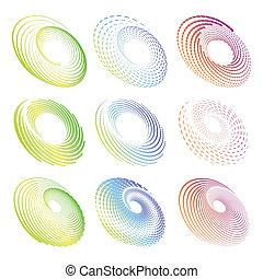 elementos, criativo, simétrico, desenho, círculo, redondo