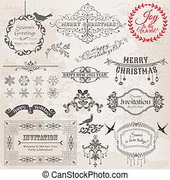 elementos, decoração, calligraphic, vetorial, desenho, vindima, bordas, natal, set:, página