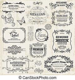 elementos, decoração, quadro, cobrança, calligraphic, vetorial, desenho, vindima, flores, página, set: