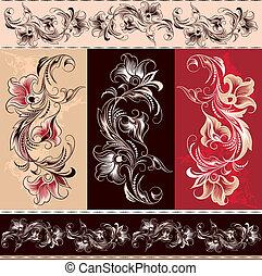 elementos, decorativo, ornamento, floral