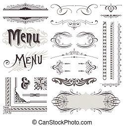 elementos decorativos, &, calligraphic, vetorial, desenho, decorações, ornate, página