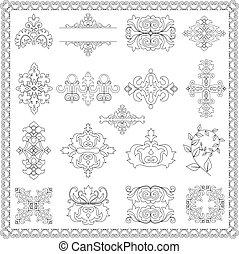elementos decorativos, desenho, (line)