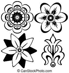 elementos decorativos, (vector), vindima, desenho, floral
