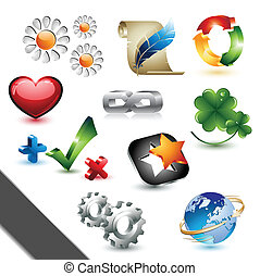 elementos, desenho, ícones