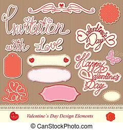 elementos, desenho, dia, valentine