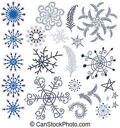 elementos, desenho, snowflakes, cobrança