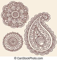 elementos, doodle, vetorial, desenho, henna