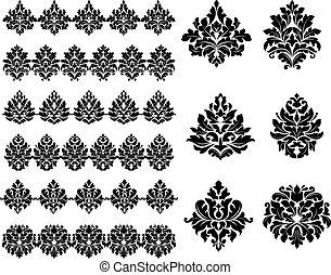 elementos florais, desenho, foliate