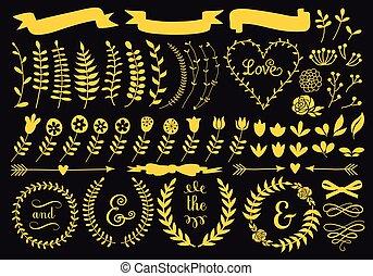 elementos florais, jogo, ouro, vetorial
