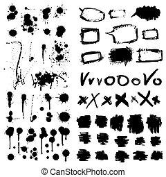 elementos, grunge, collection., desenho, tinta, splatters.
