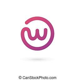 elementos, modelo, logotipo, ícone, letra, desenho, w