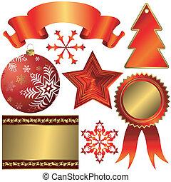 elementos, natal, cobrança, desenho, vermelho