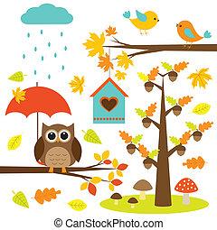 elementos, pássaros, árvores, jogo, vetorial, owl., outonal