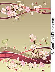 elementos, ramos, primavera, quadro, corações, abstratos