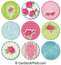 elementos, rosa, -, tagd, vetorial, desenho, scrapbook, flores