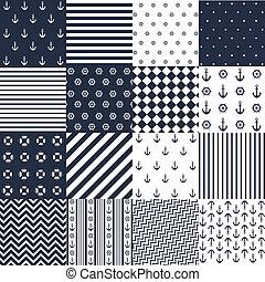 elementos, seamless, padrão, náutico