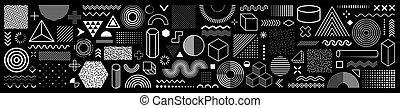 elementos, teia, vindima, billboard, trendy, sale., formas, projeto fixo, comercial, vetorial, folheto, memphis, 100, cobrança, bandeira, geomã©´ricas, retro, anúncio, cartaz, shapes., halftone