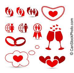 elementos, valentine, casório, desenho, infographics, dia
