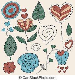 elementos, valentine, vetorial, desenho, floral, dia