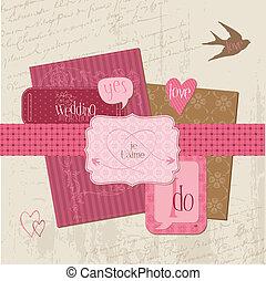 elementos, vindima, casório, -, vetorial, desenho, scrapbook, convite