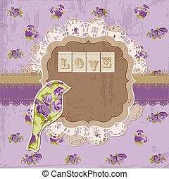 elementos, vindima, -, pássaro, vetorial, desenho, scrapbook, flores, página
