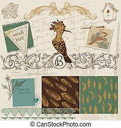 elementos, vindima, -, penas, vetorial, desenho, scrapbook, pássaro