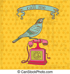 elementos, vindima, -, telefone, vetorial, desenho, scrapbook, pássaro