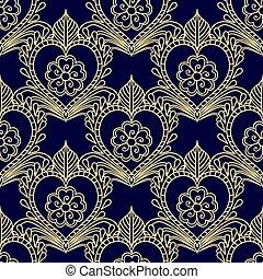 elements., ouro, decorativo, seamless, escuro, dourado, floral, padrão experiência, blue.