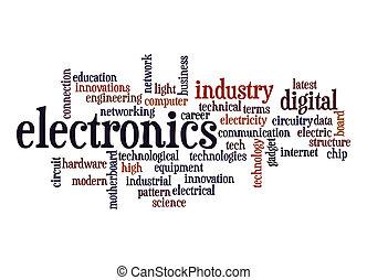 eletrônica, palavra, nuvem