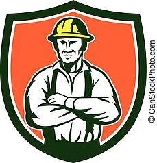 eletricista, escudo, cruzado, retro, braços