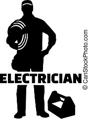 eletricista, trabalho, silueta, título