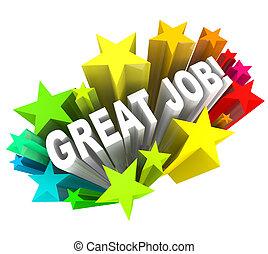 elogiar, grande, meta, sucedido, realizado, trabalho, palavras