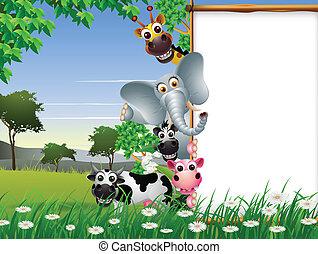em branco, caricatura, animal, sinal