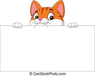 em branco, caricatura, sinal, gatinho, cute