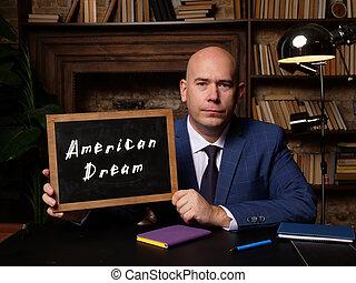 em branco, chalkboard, frase, horizontais, sonho americano, tiro., mão
