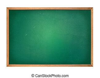 em branco, chalkboard, verde, escola