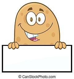 em branco, sobre, sinal, sorrindo, batata