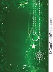 embelezamento, fundo, abstratos, verde, ornamentos, natal