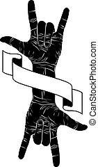 emble, fita, rocha, dois, mão, música, mãos, sinal, criativo
